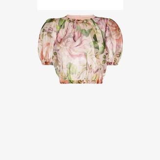 Dolce & Gabbana Cropped Floral Silk Organza Blouse