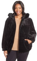 Gallery Plus Size Women's Grooved Faux Fur Hooded Jacket