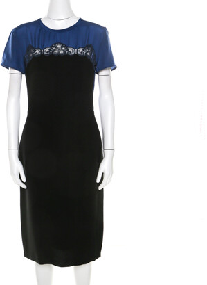 Stella McCartney Black and Blue Stretch Crepe Lace Detail Shift Dress M
