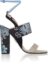 Paul Andrew WOMEN'S SUEDE & BROCADE ANKLE-STRAP SANDALS