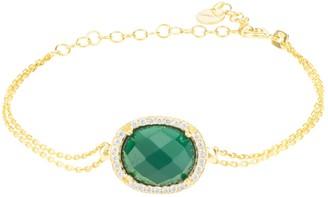 Latelita Beatrice Oval Gemstone Bracelet Gold Green Onyx