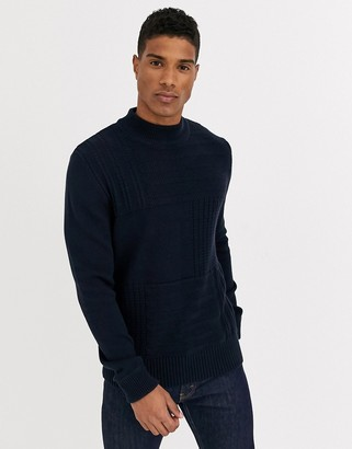 Jack and Jones chunky crew neck knitted sweater in navy