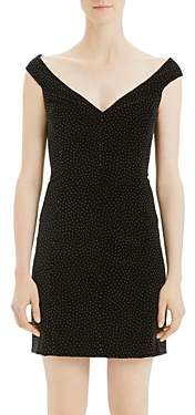 Theory Off-the-Shoulder Micro Dot Mini Dress