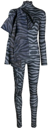 Atu Body Couture Tiger Print Bodycon Jumpsuit With Oversized Bow Detail
