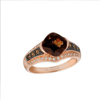 LeVian CORP LIMITED QUANTITIES Le Vian Grand Sample Sale Ring featuring Chocolate Quartz, Chocolate Diamonds, Vanilla Diamonds set in 14K Strawberry Gold