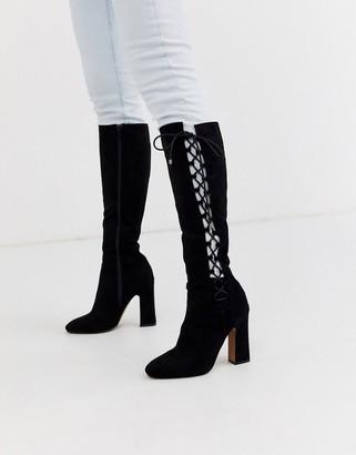 Asos Design DESIGN Cecily high heeled knee boot in black