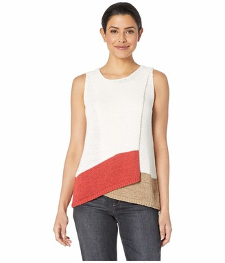 Vince Camuto Womens Sleeveless Asymmetrical Fold-Over Front Color Block Sweater Pearl Ivory SM