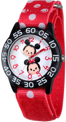 Character Disney Girls Mickey & Minnie Mouse Tsum Tsum Red And Black Polka Dot Time Teacher Strap Watch W003003