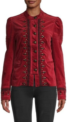 Free People Maven Studded and Embroidered Velvet Jacket