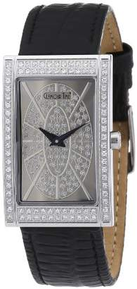 Glamour World Glamour Time Ladies Watch GT400ST6STw-1 with Silver Dial and Black Leather Strap