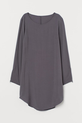 H&M Short Viscose Dress - Gray