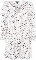 Topshop Spot Print Plisse Wrap Dress
