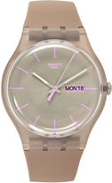 Swatch Watch, Unisex Swiss Taupe Rebel Taupe Silicone Strap 43mm SUOC702