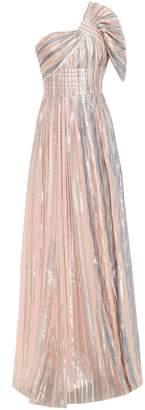 Peter Pilotto One-shoulder Gathered Metallic Striped Chiffon Gown
