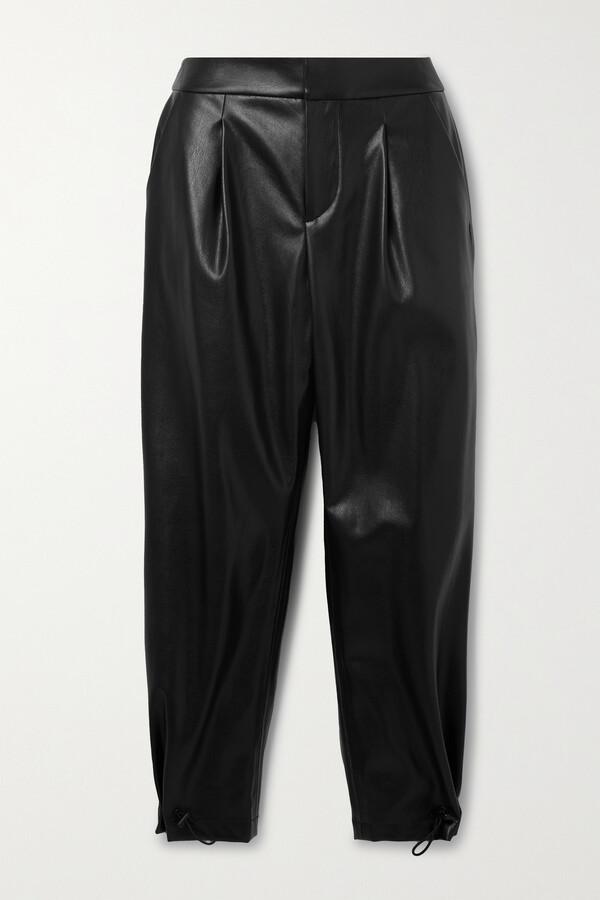 Alice + Olivia Paris Pleated Vegan Leather Tapered Pants