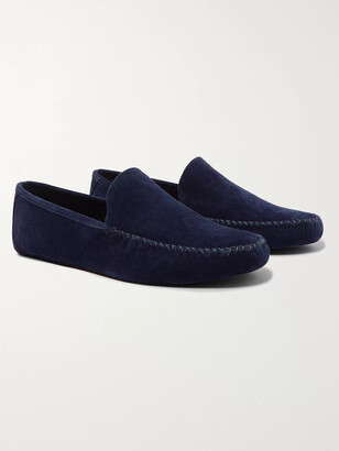 Loro Piana Maurice Cashmere-Lined Suede Slippers - Men - Blue