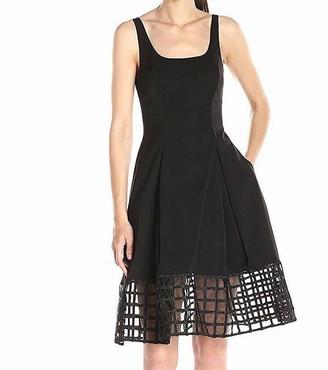 Aidan Mattox Aidan Women's Scoop Neck Sleevless Cocktail Dress with Grid Hem Detail