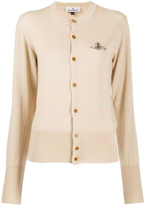Vivienne Westwood Fine Knit Cardigan With Abstract Logo Embroidery
