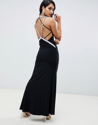 Asos Design DESIGN low back maxi with diamante straps dress-Black