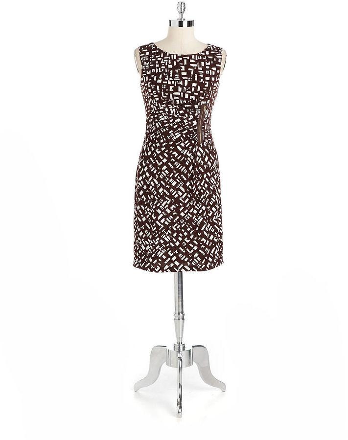 Tahari ARTHUR S. LEVINE Abstract Print Sheath Dress