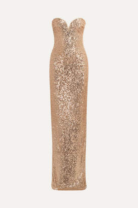 Naeem Khan Strapless Sequin-embellished Tulle Gown - Gold
