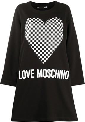 Love Moschino Heart-Print Sweatshirt Dress
