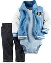 Carter's Baby Boy Football Cardigan, Bodysuit & Jeggings Set
