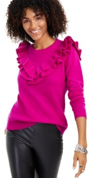 Charter Club Cashmere Ruffle-Trim Sweater, Regular & Petite Sizes, Created for Macy's