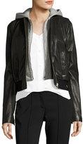 A.L.C. Edison Combo Lamb Leather Moto Jacket w/ Hoodie
