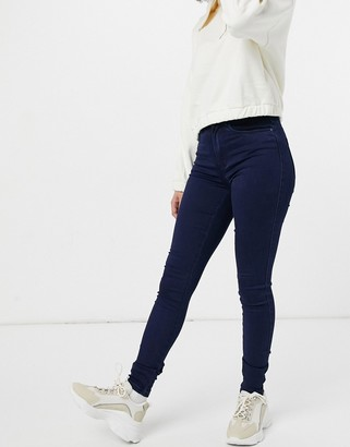 Only royal high waisted skinny jeans in dark blue denim
