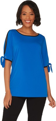 Belle By Kim Gravel Color Tipping Split Elbow Sleeve Top
