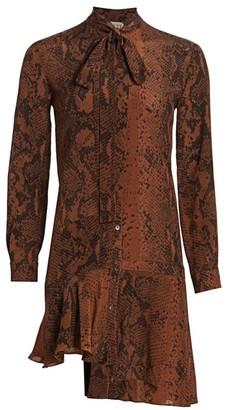No.21 Python Print Silk Tieneck Mini Dress