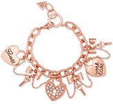 GUESS Rose Gold-Tone Swag Charm Bracelet