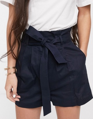 Asos DESIGN linen shorts with paperbag waist and belt