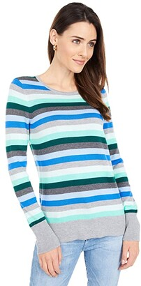 Vince Camuto Long Sleeve Multi Stripe Pullover Sweater (Deep Evergreen) Women's Sweater