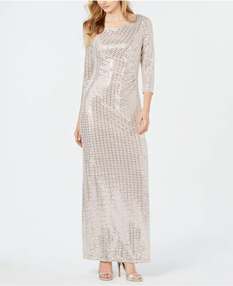 Jessica Howard Petite Side-Ruched Shimmer Gown