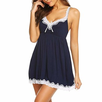 Forgetme Clothing ForgetMe Women's Sexy Lingerie Babyoll Nightwear Set Satin Slip Silk Sleepwear Nightwear Soft Comfortable Chemise Nightdress + G-String