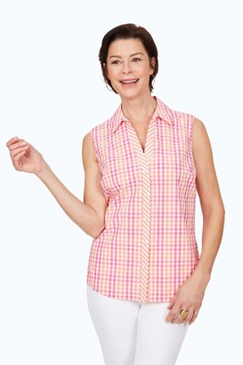 Foxcroft Women's Elisa Wrinkle-Free Gingham Sleeveless Shirt