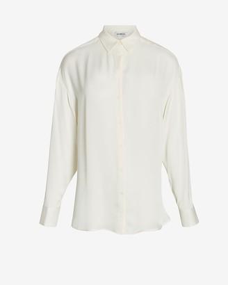 Express Oversized Satin Button-Up Shirt