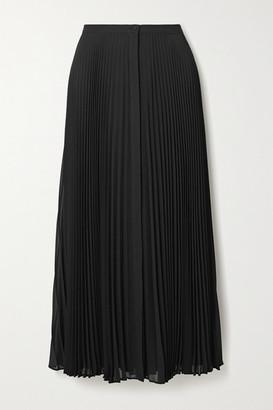 Theory Pleated Georgette Midi Skirt - Black