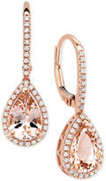 Macy's Morganite (2-1/10 ct. t.w.) & Diamond (1/4 ct. t.w.) Drop Earrings in 14k Rose Gold