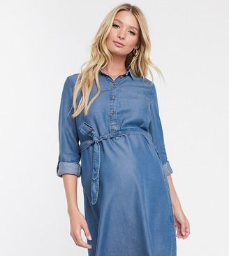 Mama Licious Mamalicious denim nursing shirt dress