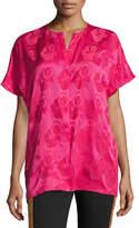 Etro Short-Sleeve Tonal Floral Jacquard Silk Blouse, Hot Pink