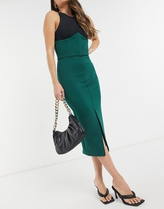 True Violet exclusive midi skirt with split and detailed waist in forest green