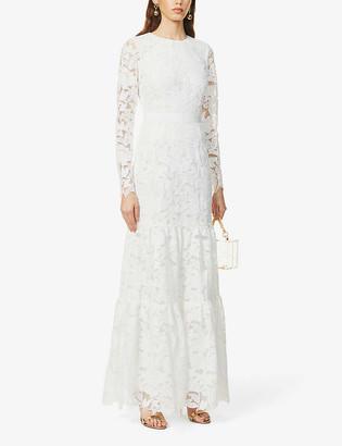 Self-Portrait Floral-pattern lace maxi dress