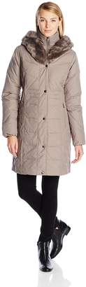 Larry Levine Women's Hooded 3/4 Length Down Coat with Attached Faux Fur