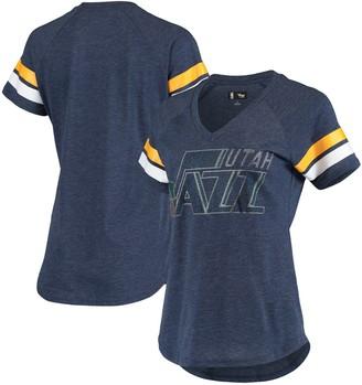 G Iii Women's G-III 4Her by Carl Banks Navy Utah Jazz Triple Double Rhinestone Tri-Blend V-Neck T-Shirt