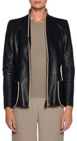 Giorgio Armani Zip-Front Fitted Leather Jacket w/ Whipstitch Trim
