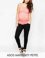 Asos PETITE Ridley Skinny Jean In Clean Black With Over The Bump Waistband