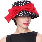 June's Young Women Hats Polka Dot Elegant Lady Party Wedding Dress Hat
